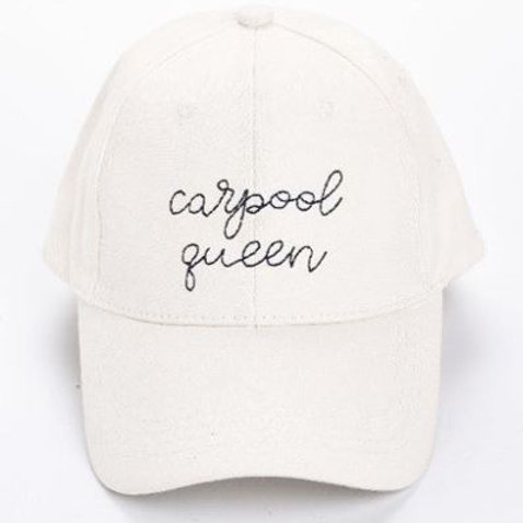 White Embroidery Hat Carpool Queen