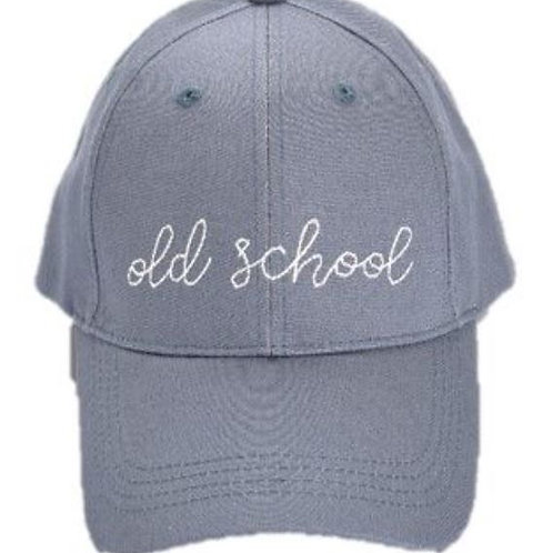 Gray Embroidery Hat Old School