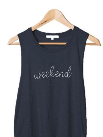Navy Embroidery Tank Weekend