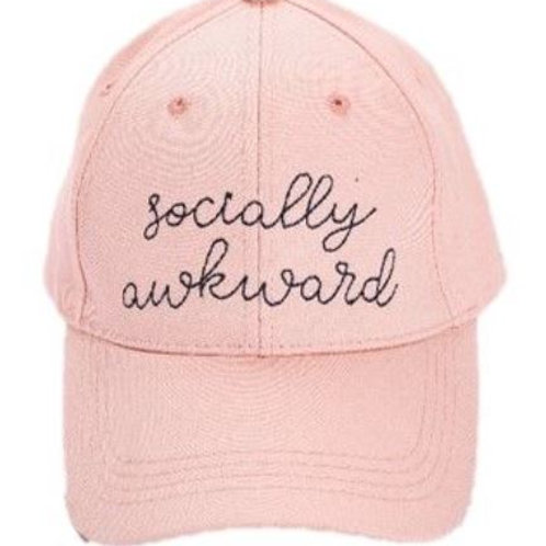 Pink Embroidery Hat Socially Awkward