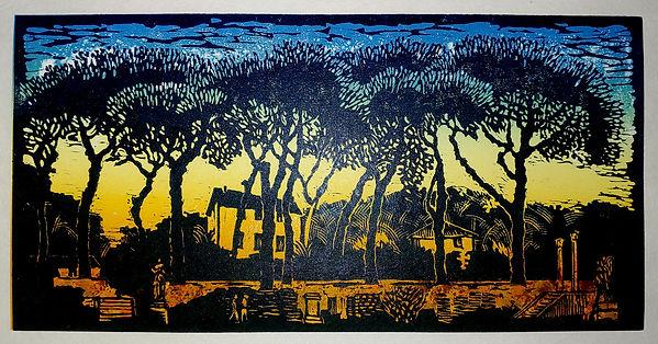 Sharon Pallent - Pines at Ostia - Linocut