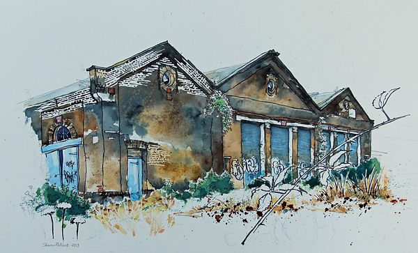 Sharon Pallent - Old Engine Sheds, Ashford - Watercolour and ink