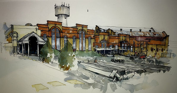 Sharon Pallent - Sittingbourne Paper Mill - Watercolour and ink
