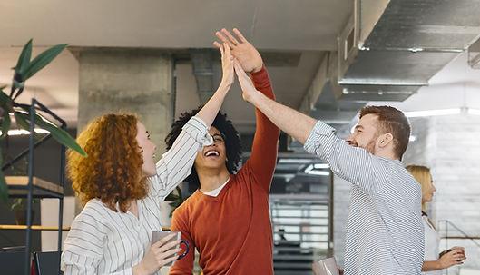 multiracial-millennial-friends-giving-hi