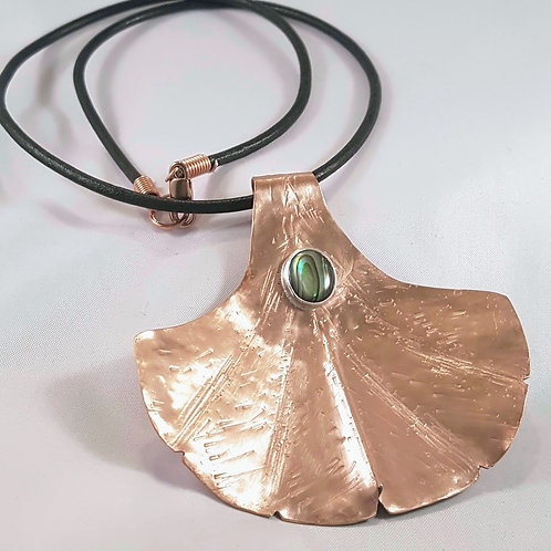 Copper Ginkgo Leaf & Paua Shell