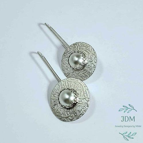 Cream Pearl Disk Earrings