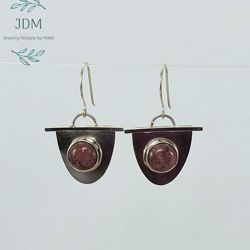 Rhodonite Half Oval Earrings
