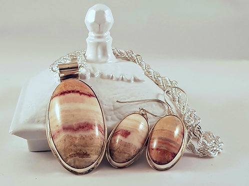 Colour Banded Calcite Necklace Set