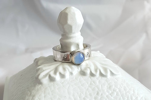 Ethiopian Opal with CZ Ring
