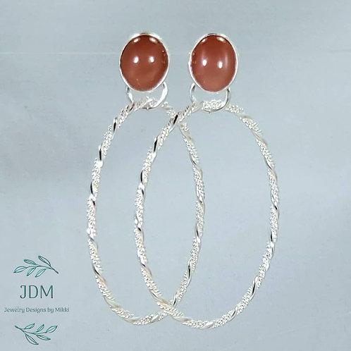 Peach Moonstone Hoop Earrings