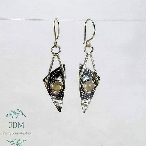 Moonstone Triangle Earrings