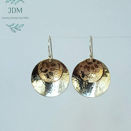 Silver & Gold Disk Earrings