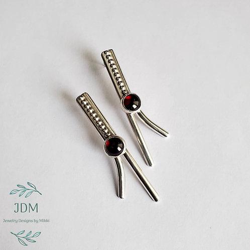Garnet & Wire Earrings