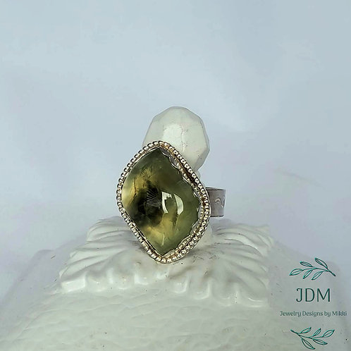 Beaded Prehnite Ring