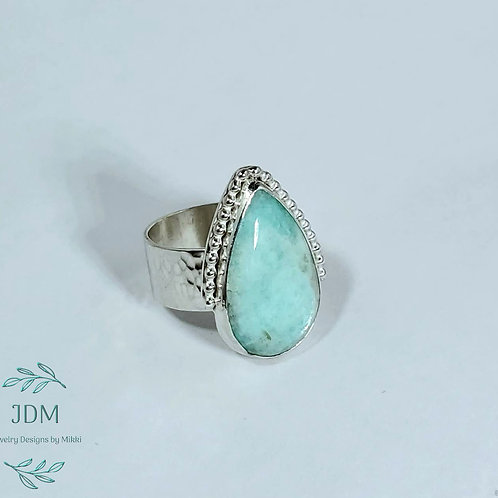 Amazonite Pear Ring