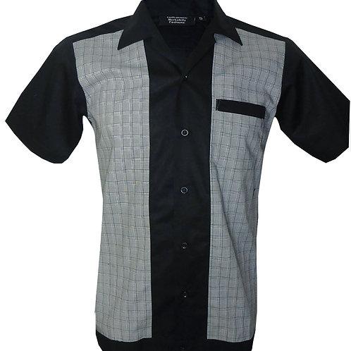Retro Vintage Rockabilly Bowling Men's Button-down Shirt Grey