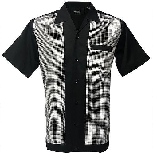 Retro Vintage Rockabilly Bowling Men's Button-down Shirt Gingham