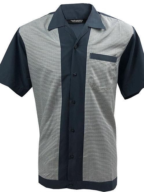 Rockabilly ,Bowling, Retro, Vintage Men's Shirt Grey/White Gingham