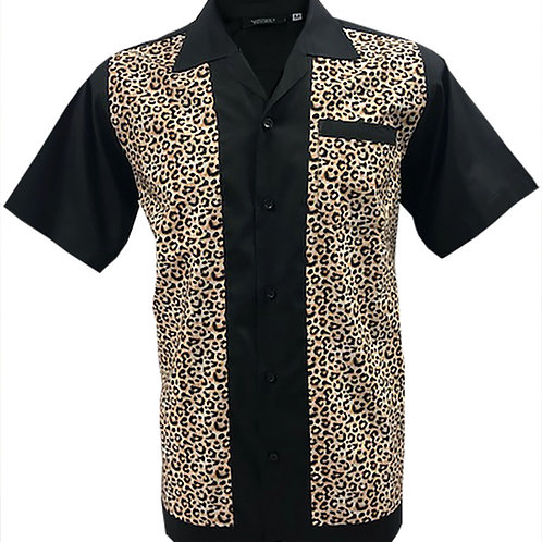 Leopard Print Rockabilly, Bowling, Retro, Vintage Men's Shirt Brown/Tan