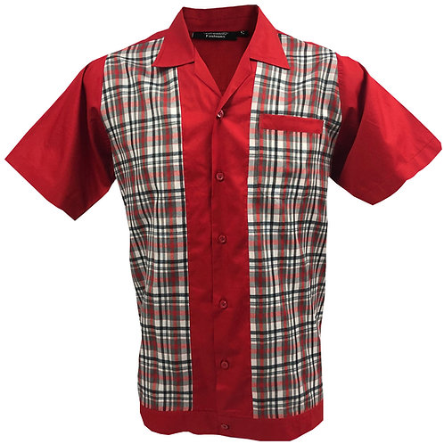 Retro Vintage Rockabilly Bowling Men's Button-down Shirt Red Checkered
