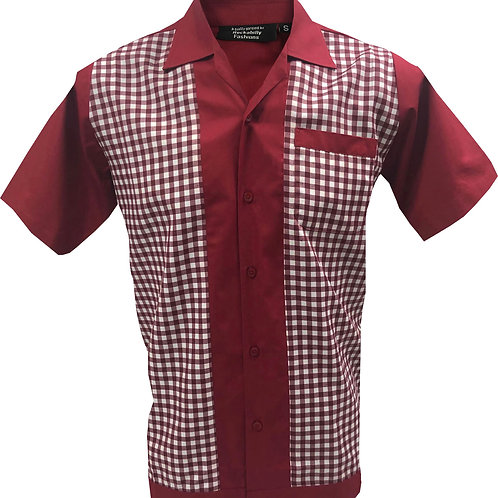 Retro Vintage Rockabilly Bowling Men's Button-down Shirt Red White