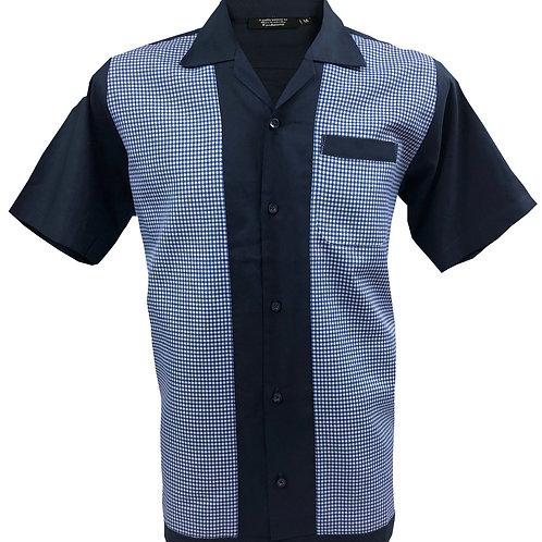 1950s/1960s Rockabilly, Bowling, Retro, Vintage Men's Shirt Blue/White
