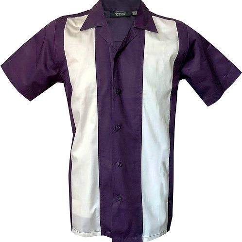Retro Vintage Rockabilly Bowling Men's Button-down Shirt Purple