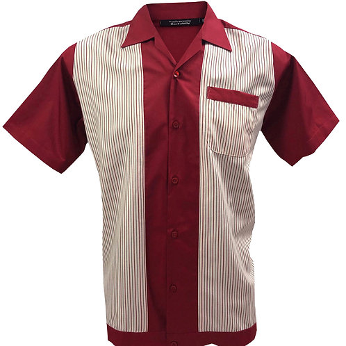 1950s/1960s Rockabilly, Bowling, Retro, Vintage Men's Shirt Red/Off White