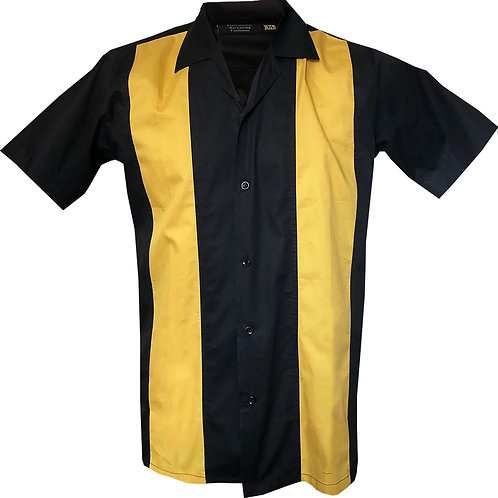 1950s/1960s Rockabilly, Bowling, Retro, Vintage Men's Shirt Black/Yellow