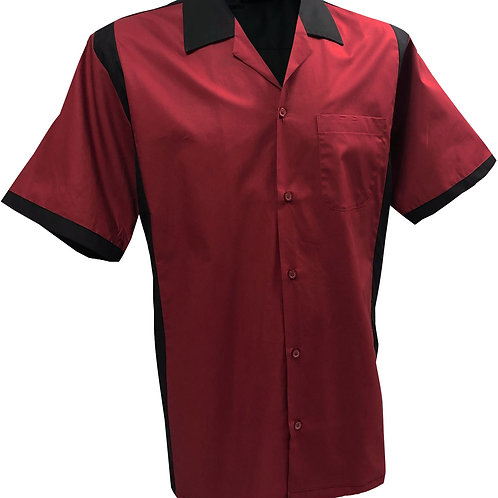 Retro Vintage Rockabilly Bowling Men's Button-down Shirt Red