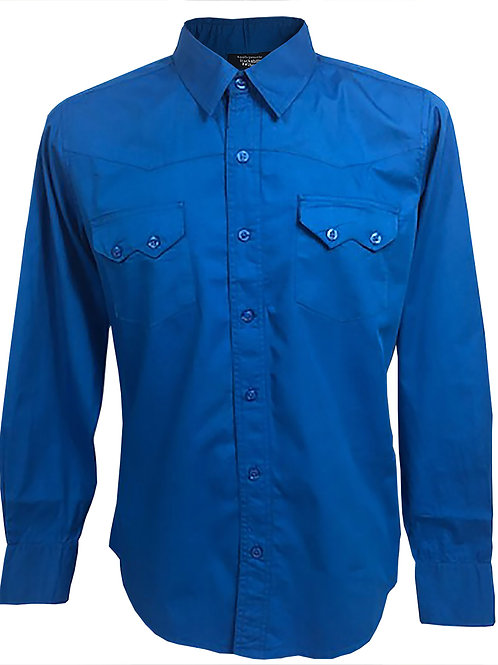 Western Retro Vintage Rockabilly Bowling Men's Button-down Shirt Blue