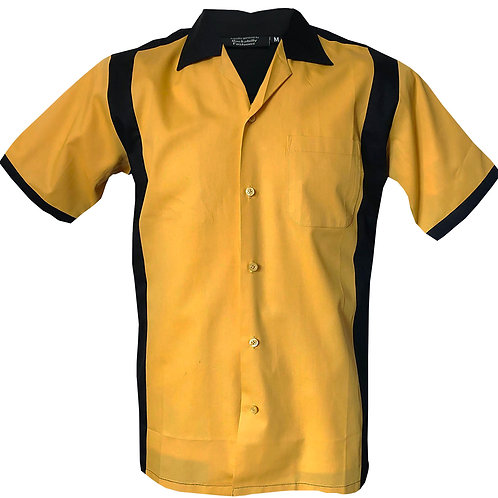 1950s/1960s Rockabilly, Bowling, Retro, Vintage Men's Shirt Yellow/Black
