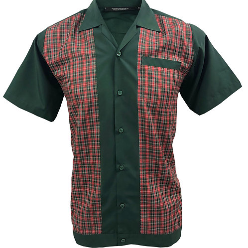 1950s/1960s Rockabilly, Bowling, Retro, Vintage Men's Shirt Green/Tartan