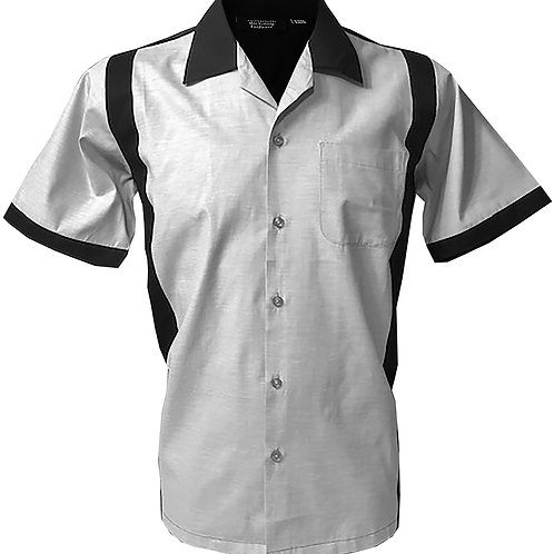 Retro Vintage Rockabilly Bowling Men's Button-down Shirt Grey