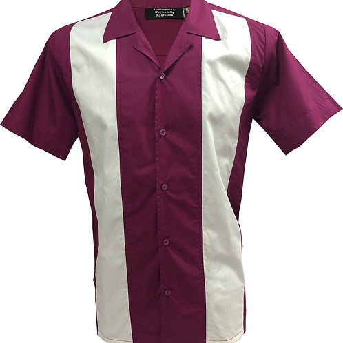 Retro Vintage Rockabilly Bowling Men's Button-down Shirt Aubergine