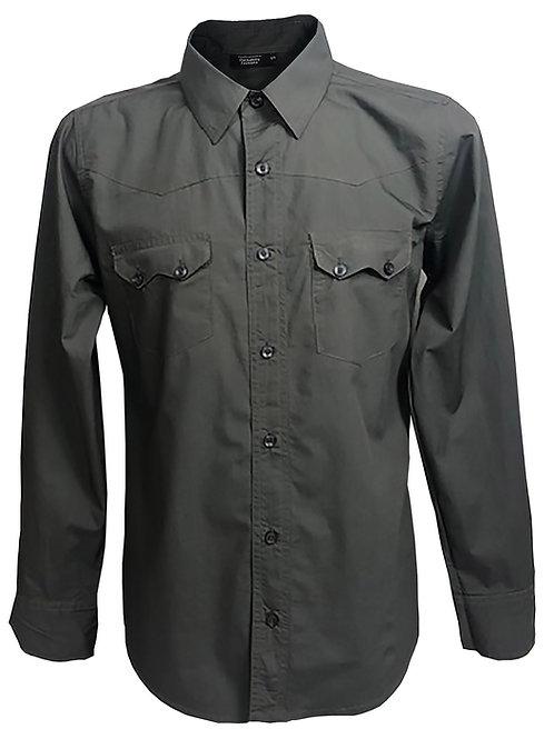 Western Style Retro Vintage Rockabilly Bowling Men's Button-down Shirt Grey