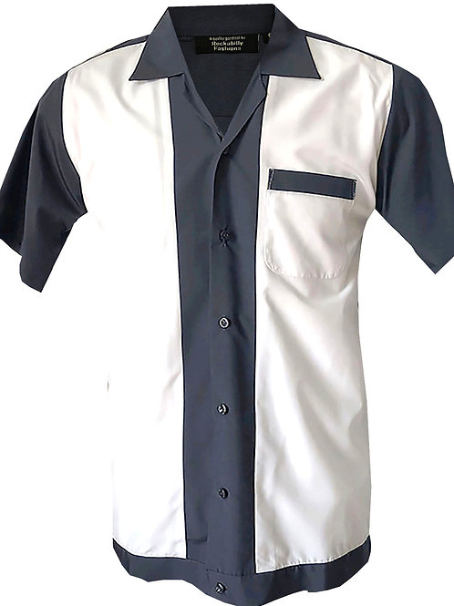 1950s/1960s Rockabilly, Bowling, Retro, Vintage Men's Shirt Grey/White