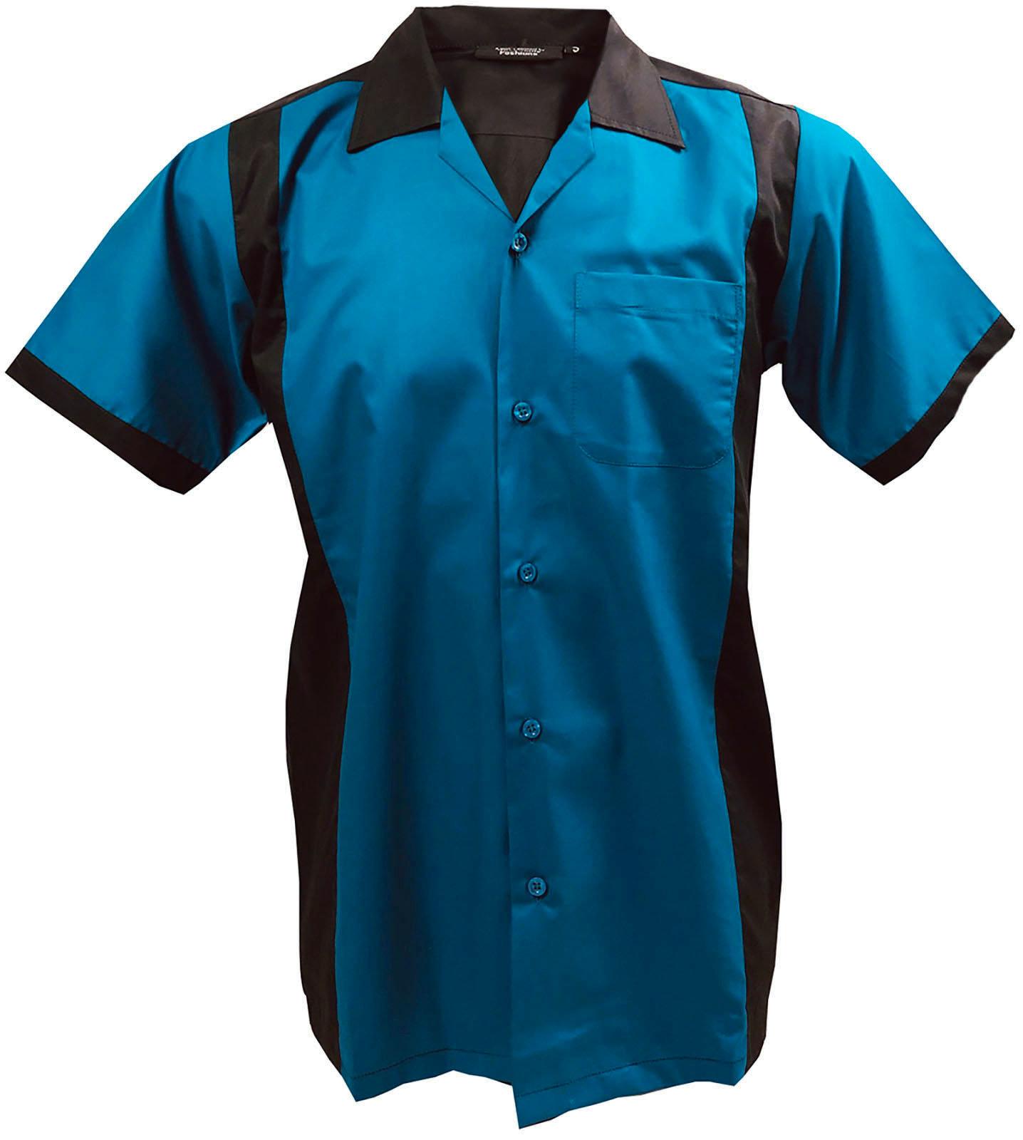 Brunswick Men/'s Ace Zone Retro Vintage Polo Bowling Shirt Black Red Rockabilly