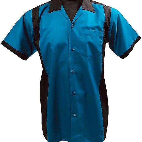 1950s/1960s Rockabilly, Bowling, Retro, Vintage Men's Shirt Ocean Blue/Black
