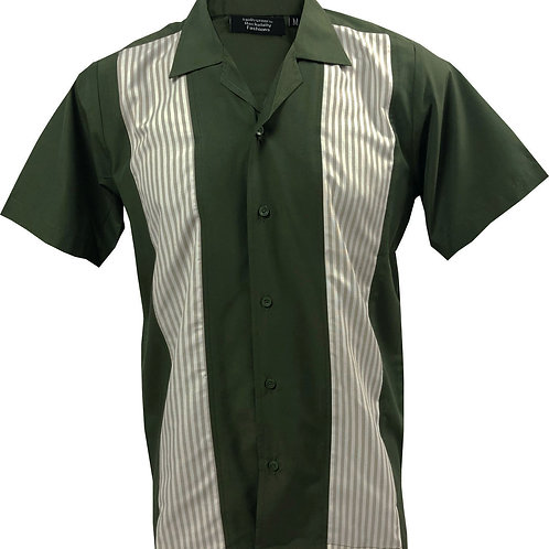 Retro Vintage Rockabilly Bowling Men's Button-down Shirt Khaki Green