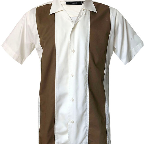 1950s/1960s Rockabilly, Bowling, Retro, Vintage Men's Shirt White/Brown