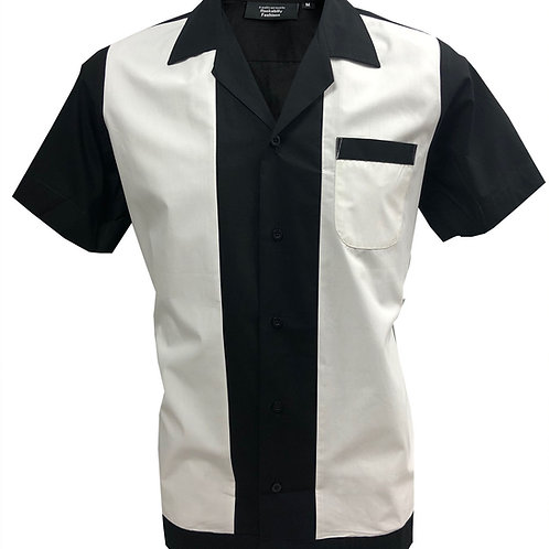 Retro Vintage Rockabilly Bowling Men's Button-down Shirt Black White