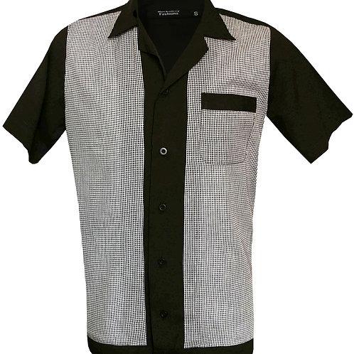 1950s/1960s Rockabilly, Bowling, Retro, Vintage Men's Shirt Black/White