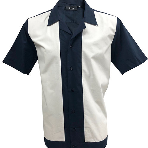 1950s/1960s Rockabilly, Bowling, Retro, Vintage Men's Shirt Navy Blue/White