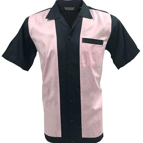1950s/1960s Rockabilly, Bowling, Retro, Vintage Men's Shirt Black/Pink
