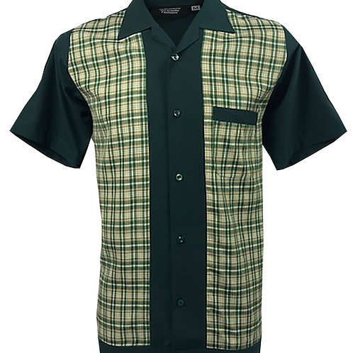 Retro Vintage Rockabilly Bowling Men's Button-down Shirt Dark Green Checkered