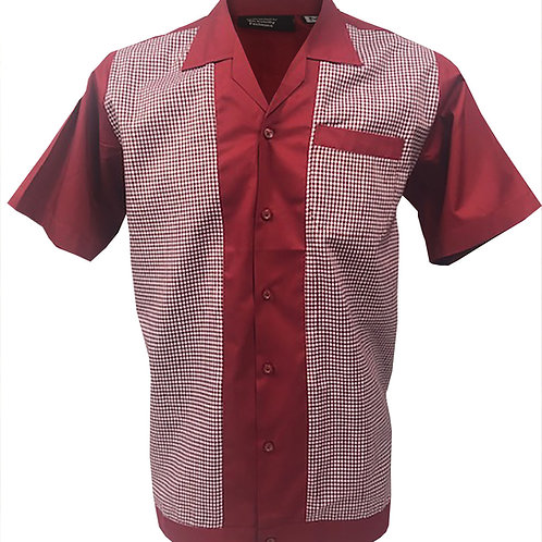 copy of Retro Vintage Rockabilly Bowling Men's Button-down Shirt Red White