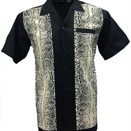 Retro Vintage Rockabilly Bowling Men's Button-down Shirt Crocodile