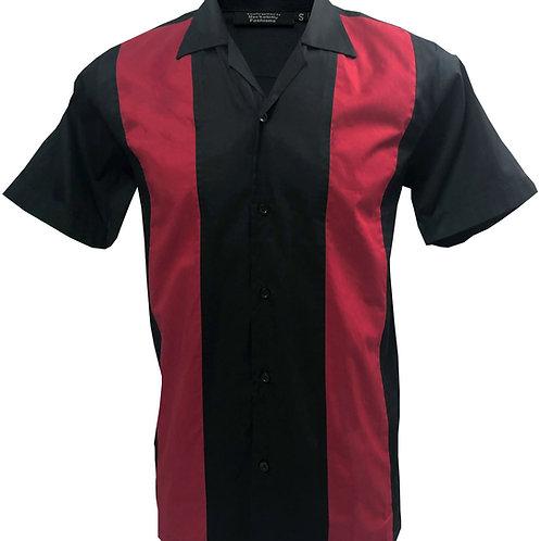 1950s/1960s Rockabilly, Bowling, Retro, Vintage Men's Shirt Black/Red