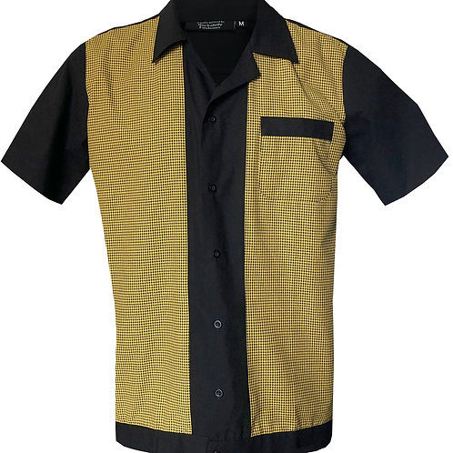 1950s/1960s Rockabilly, Bowling, Retro, Vintage Men's Shirt Black/Yellow